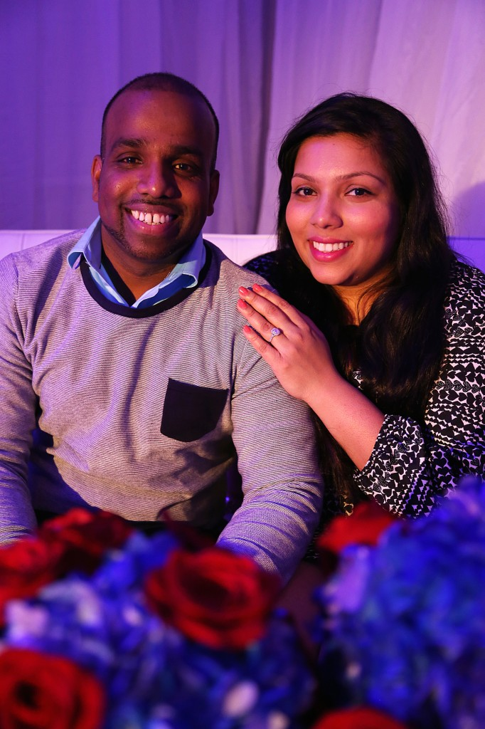 Newly Engaged couple after surprise wedding proposal