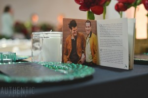 A book or brochure with engagement pictures and a story of how a couple have met and fell in love