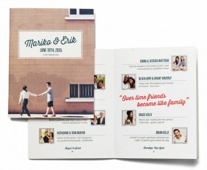 A brochure that tells a love story and introduces most important people in the lives of a couple