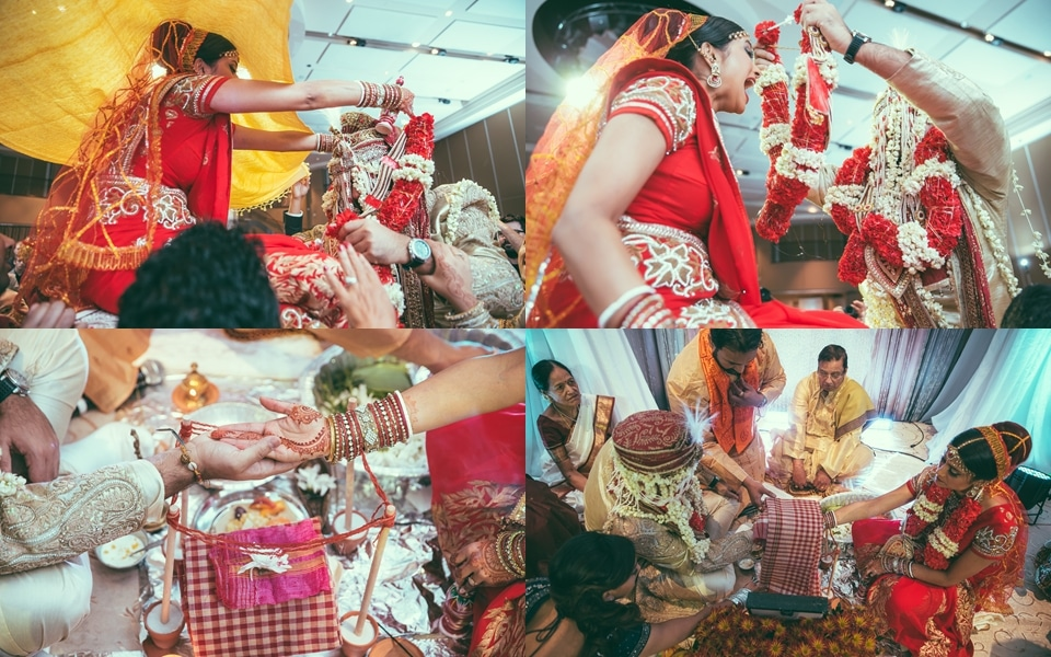 bride and groom go through traditions at indian wedding