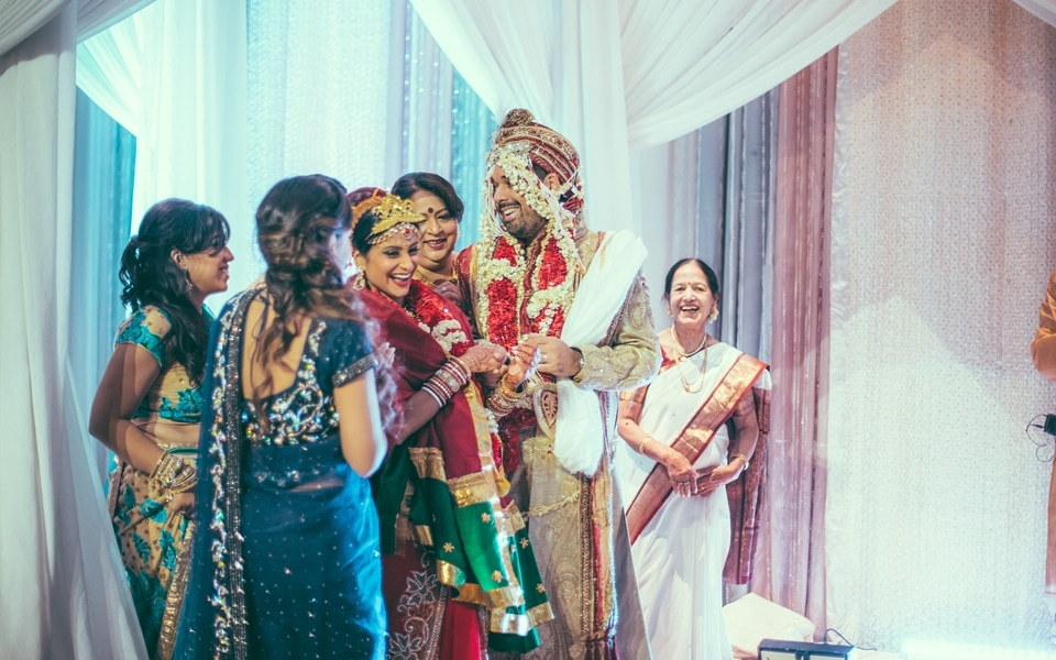 indian wedding ceremony with bride and groom