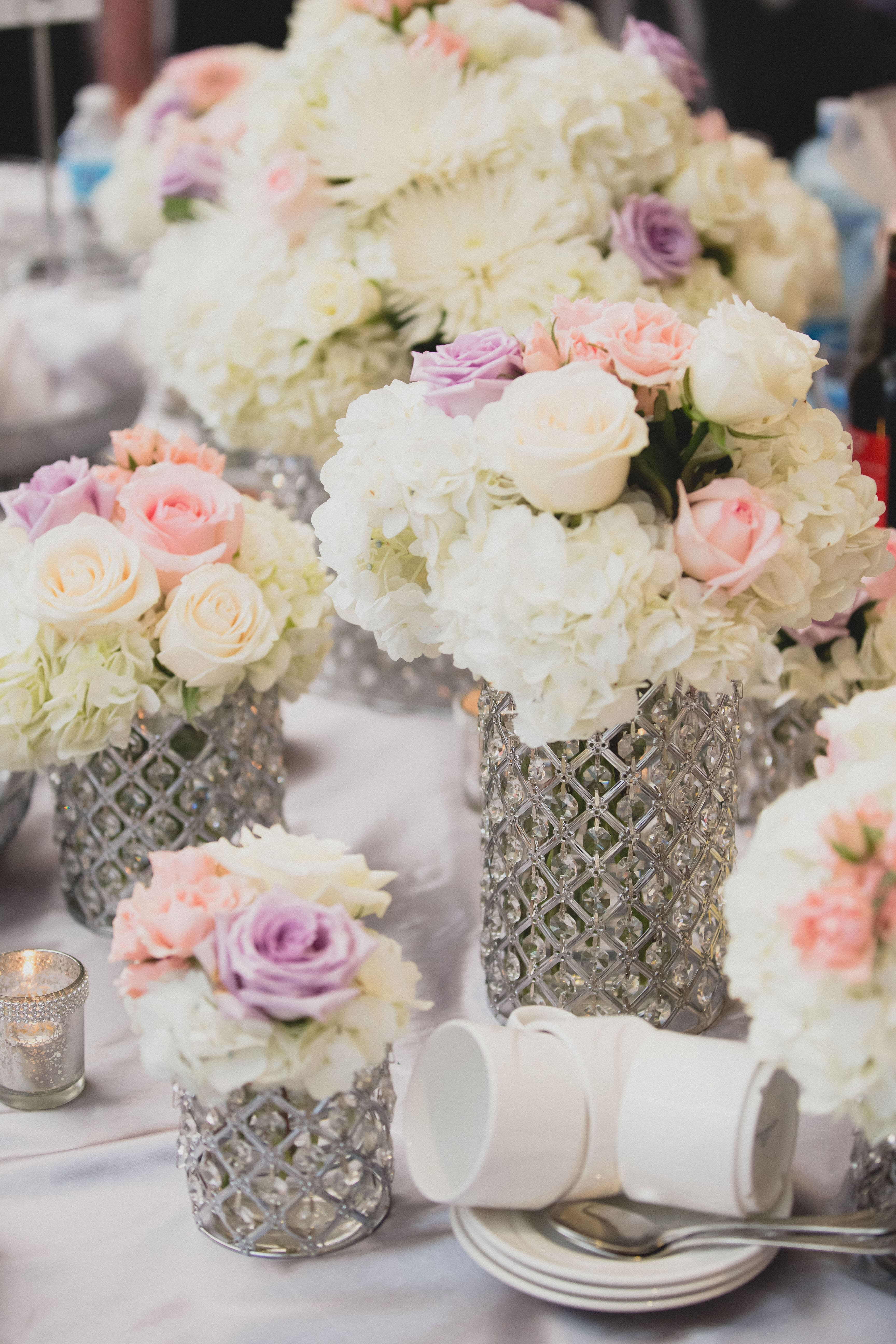colorful flower arrangements for a wedding table