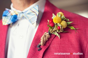 Billy buttons (Craspedia) and hypericum berries boutonniere
