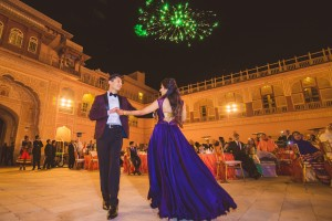 Bride and Groom Dance under fireworks