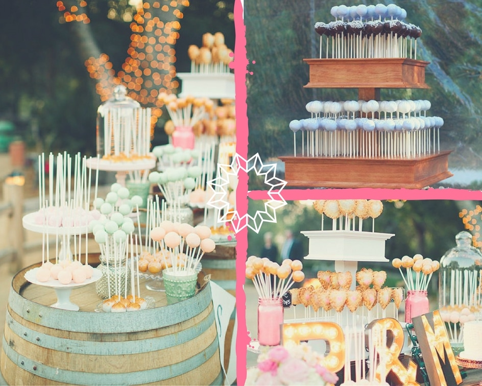 collage of cake pop stands