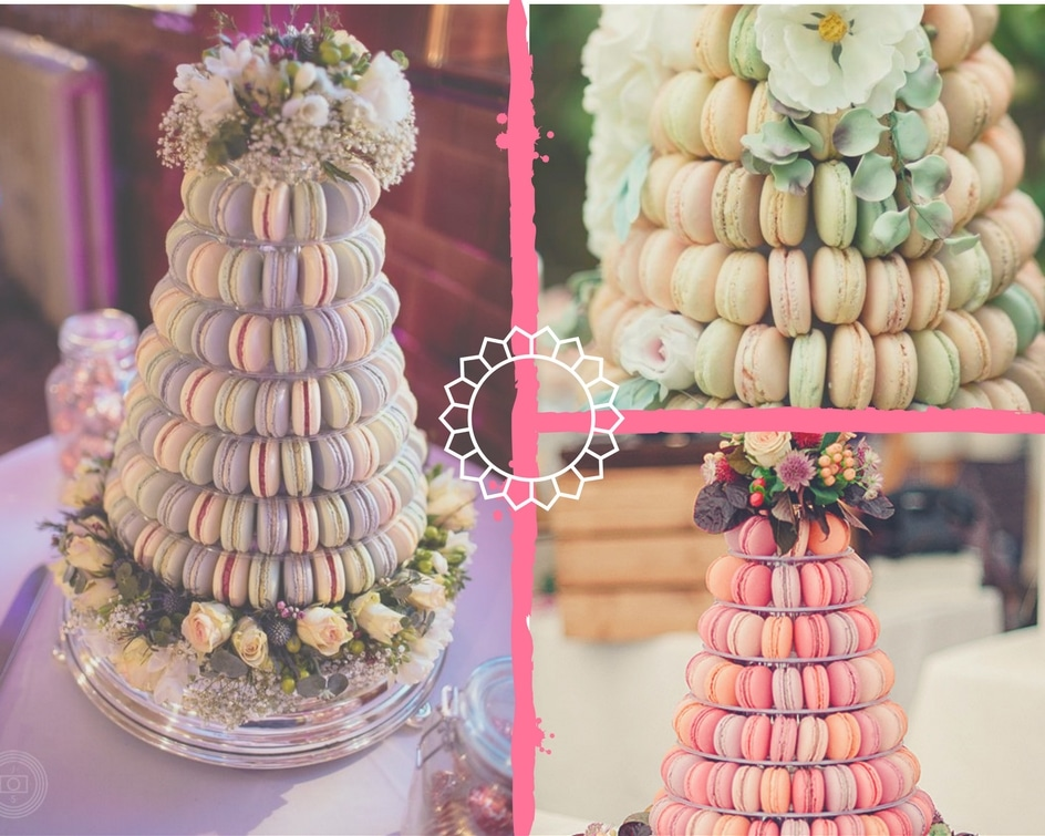 A collage of macaroon cakes