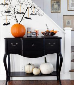 front foyer table with halloween decor