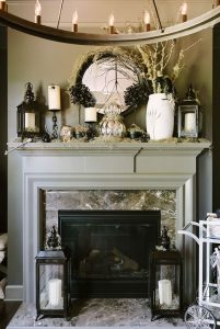 Mantle decored in halloween decor